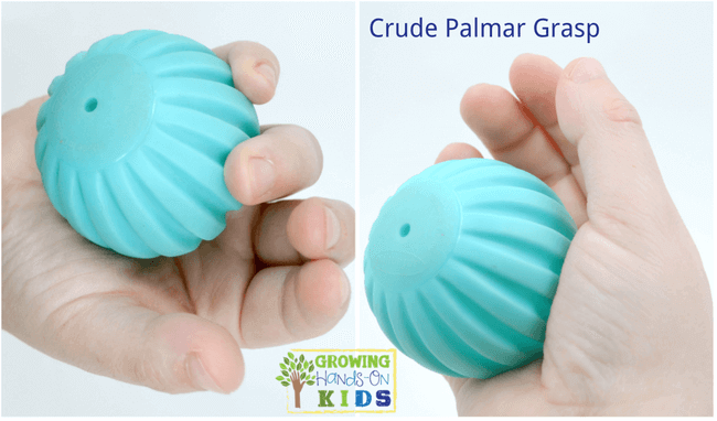 Crude Palmar grasp, typical pencil grasp development in children.