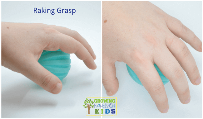 Raking grasp, typical pencil grasp development in children.