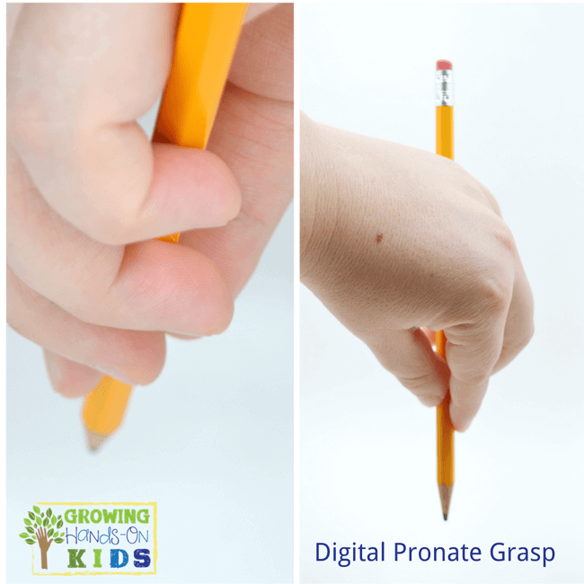 Digital pronate grasp, typical pencil grasp development in children.