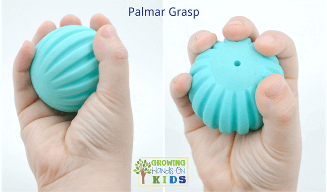 Palmar grasp, typical pencil grasp development in children.