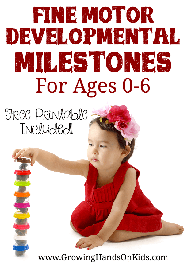 Fine motor developmental milestones for ages 0-6