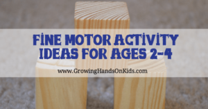 Fine Motor Activity Ideas for 2-4 Year Olds