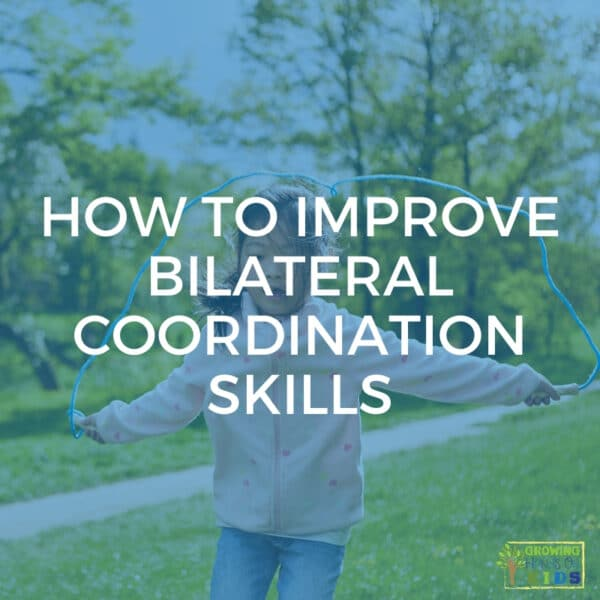 """child with a jump rope in her hands jumping. Blue overlay with white text that reads """"How to improve bilateral coordination skills""""."""