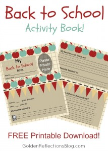Get you FREE Printable Back to School Activity photo book! | www.GoldenReflectionsBlog.com