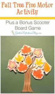 A fun scooter board game twist with this fall tree fine motor activity for kids. www.GoldenReflectionsBlog.com