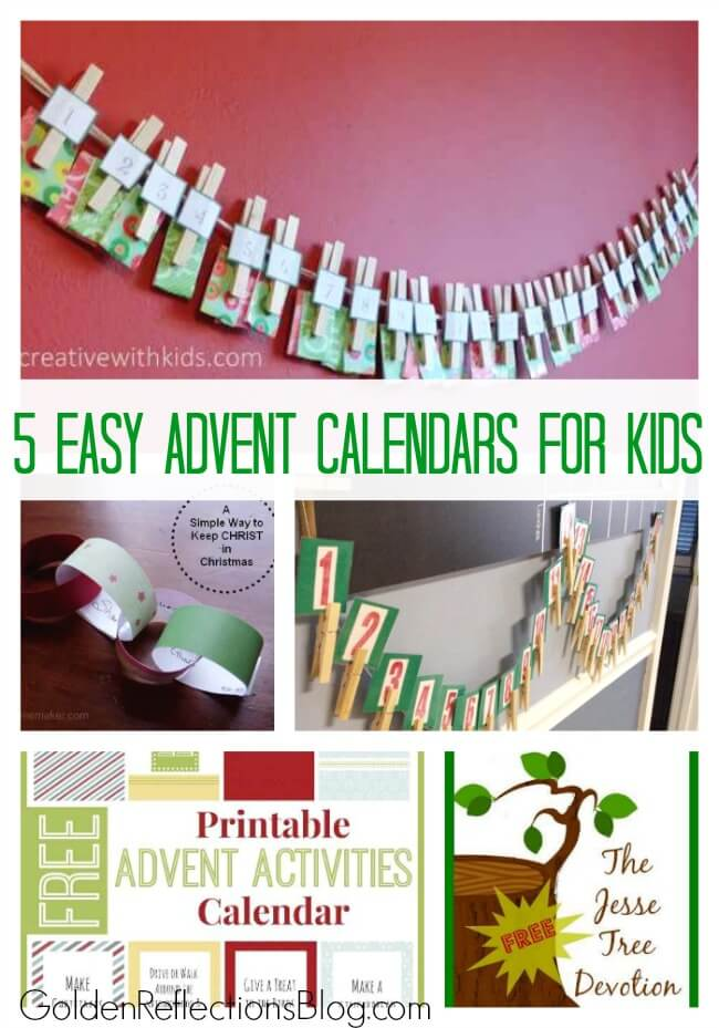 5 quick and easy advent calendar activities for kids. www.GoldenReflectionsBlog.com
