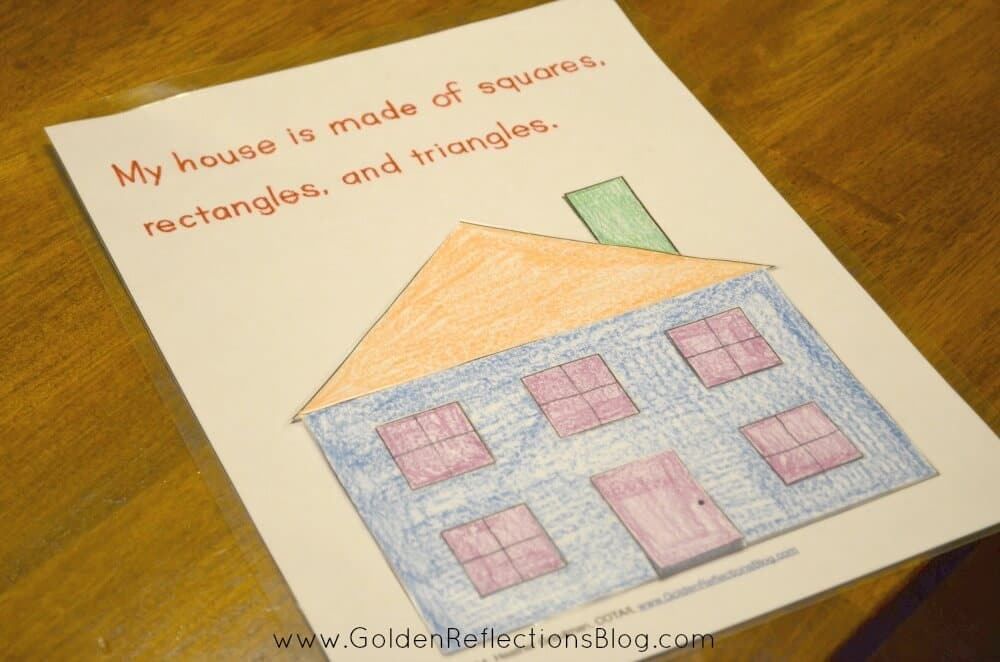 a fun DIY puzzle activity - My House is Made of Shapes Printable Packet : Pre-writing Activities for Kids Series | www.GoldenReflectionsBlog.com