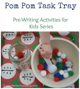 Pre-writing Activities for Kids - Pom Pom Task Tray | www.GoldenReflectionsBlog.com