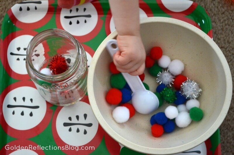 Pre-writing Activities for Kids - Pom Pom Task Tray