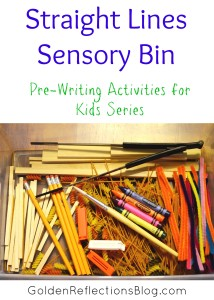 Pre-writing Activities for Kids Series - Straight Lines Sensory Bin | Golden Reflections Blog