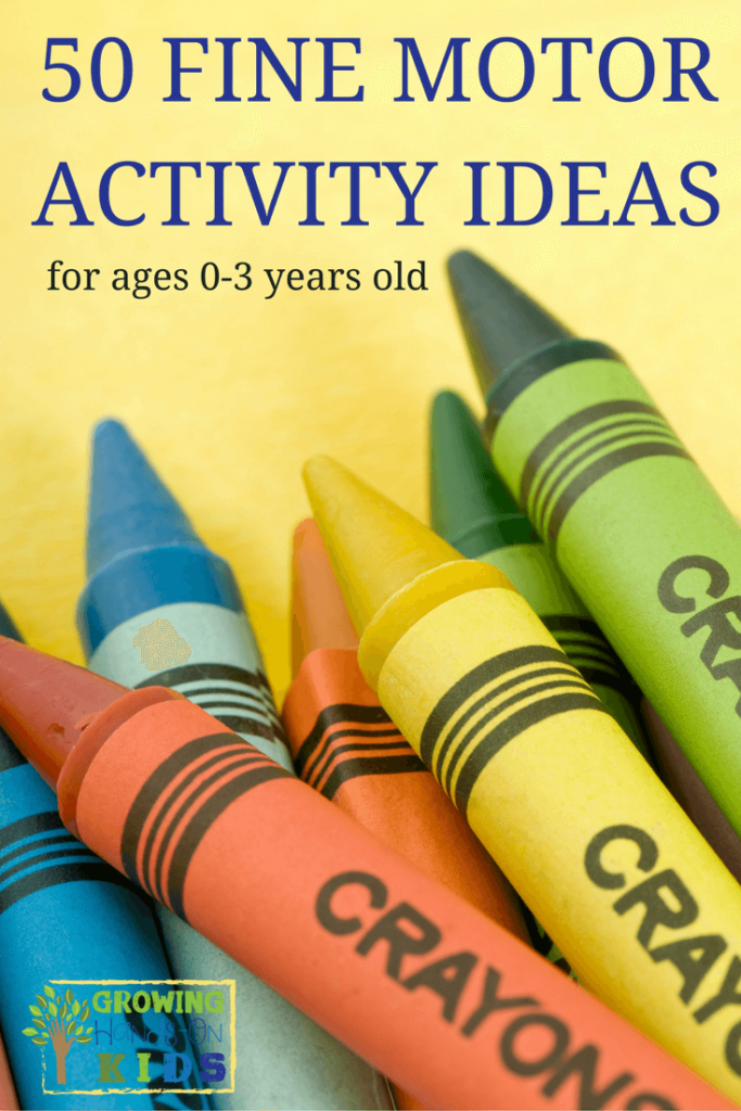 50 fine motor activity ideas for ages 0-3, babies and toddlers. Includes printable list of all the ideas!