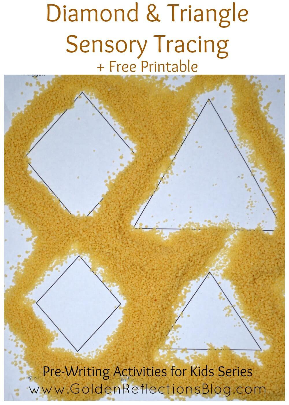 Diamond & Triangle Sensory Tracing : Pre-Writing Activities for Kids Series | www.GoldenReflectionsBlog.com
