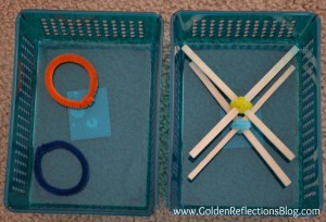 pre-writing line practice with pipe cleaners.