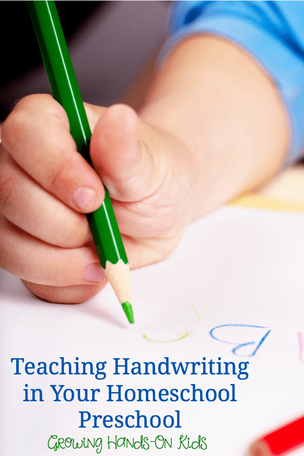 Teaching handwriting in your homeschool preschool.