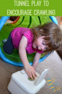 Tunnel play game to encourage crawling, a great sensory processing play activity! | www.GoldenReflectionsBlog.com