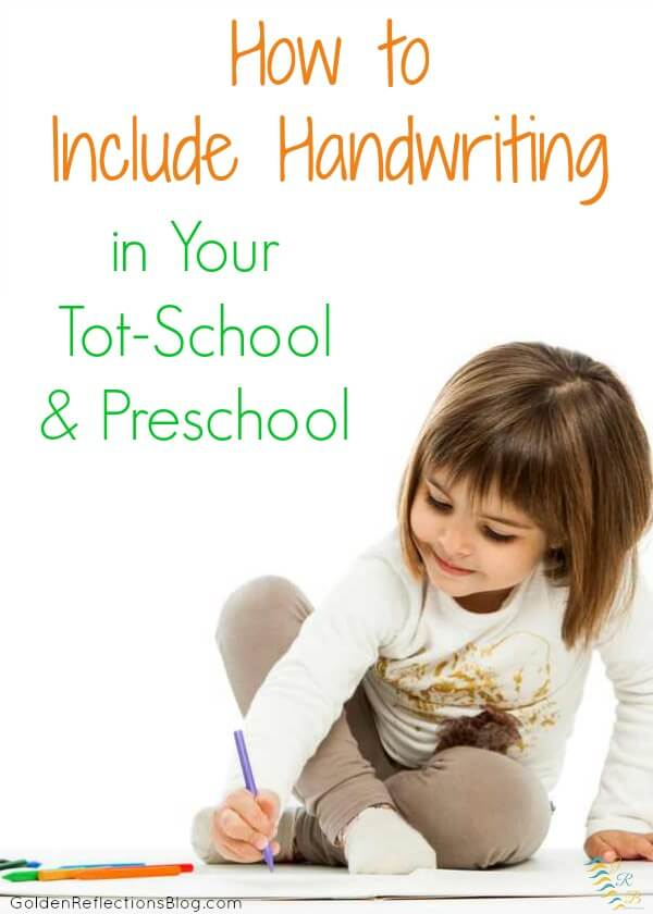 Not sure how to include handwriting skills with your toddler or preschooler? Get hands-on ideas that are fun!   www.GoldenReflectionsBlog.com