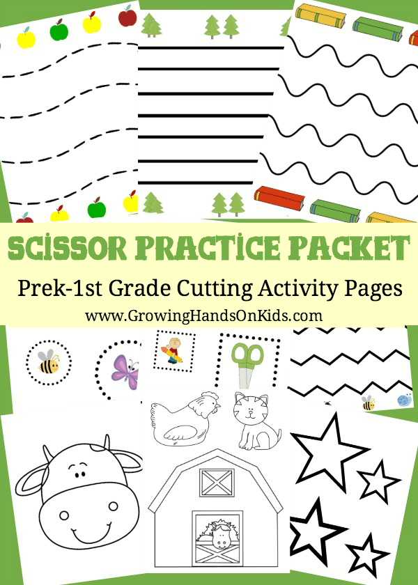 Scissor Practice Packet for preschool through 1st grade, 32 cutting practice pages.