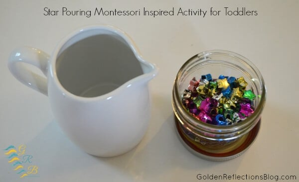 Montessori homeschool for toddlers activity - pouring star beads for practical life skills