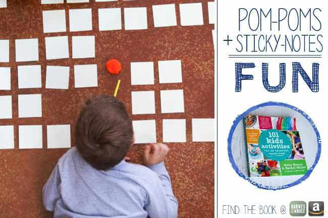 Sticky note pom pom maze - From 101 Kids Activities Book | www.GoldenReflectionsBlog.com