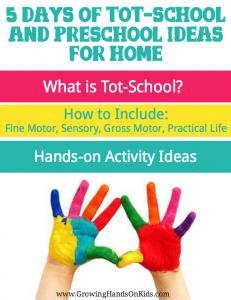 5 Days of tot-school and preschool ideas for home, homeschooling littles.