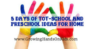 5 Days of tot-school and preschool ideas for home, homeschooling littles.