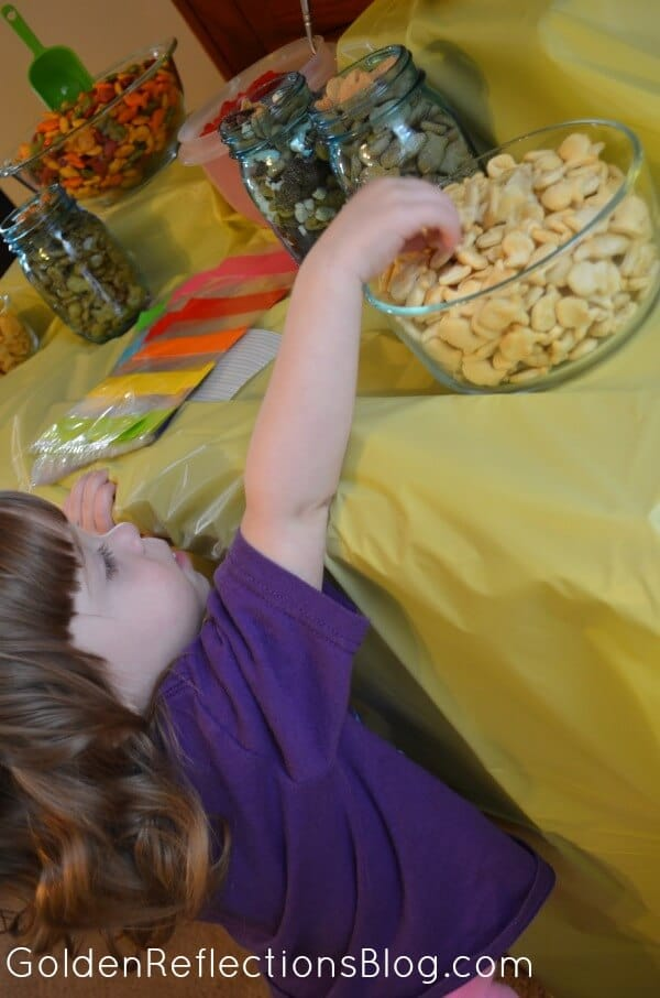 Eating Goldfish Crackers Bar - Fish Themed Birthday Party Ideas - GoldenReflectionsBlog.com
