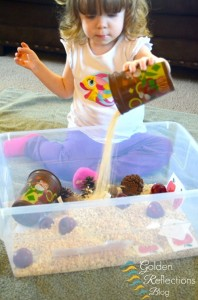 Apple and oatmeal sensory bin for apple theme tot school week. www.GoldenReflectionsBlog.com