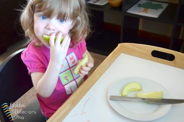 Apple snack for apple theme tot school week. www.GoldenReflectionsBlog.com