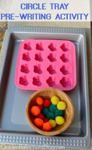 A super easy circle tray pre-writing activity for kids. www.GoldenReflectionsBlog.com