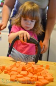 Baked Sweet Potato Bites for easy kids in the kitchen recipe. www.GoldenReflectionsBlog.com