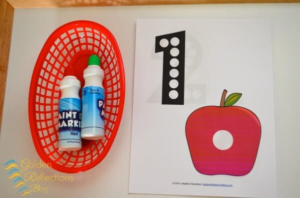 Dot marker tray with apple theme tot school week. www.GoldenReflectionsBlog.com