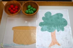 Fall play dough mats for apple theme tot school week. www.GoldenReflectionsBlog.com