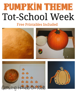 Pumpkin theme tot-school week activities for ages 2-4. Free Printables included!