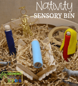 An easy, DIY Nativity sensory bin, perfect for the Advent season.