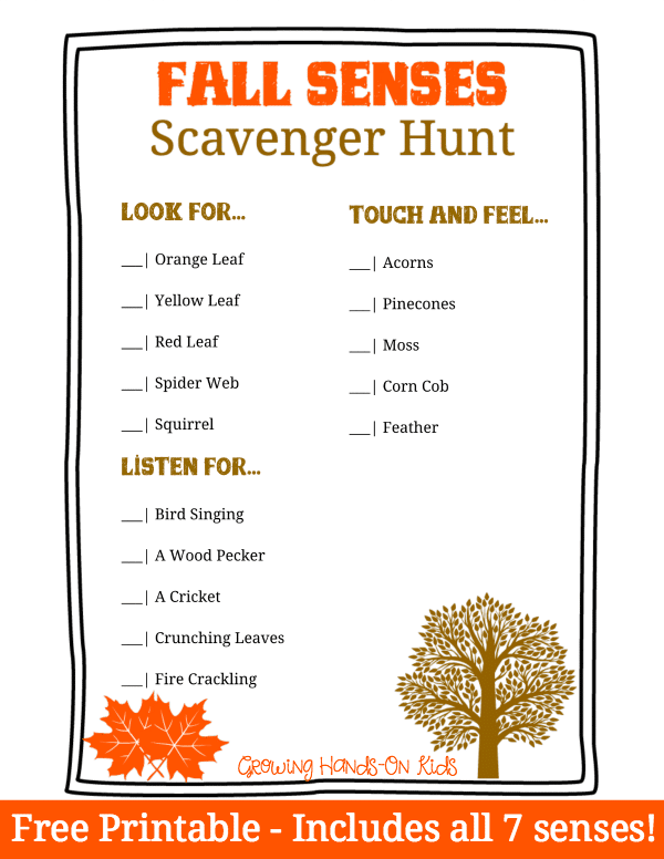 Fall senses scavenger hunt for kids.