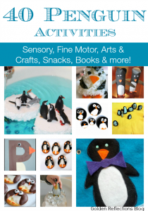 If you have winter loving kids, they will love these penguin activities. Sensory activities, fine motor, book and snack ideas and more! www.GoldenReflectionsBlog.com