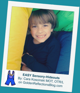 E is for Easy Sensory Hideouts. www.GoldenReflectionsBlog.com