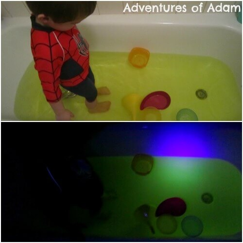 glow in the dark sensory bath