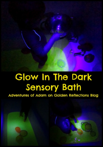 Glow in the dark sensory play for kids with this fun sensory bath. www.GoldenReflectionsBlog.com