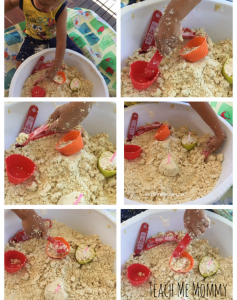 playing with cloud dough for sensory play.