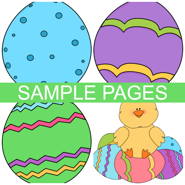 sample pages of free printable easter play dough mats