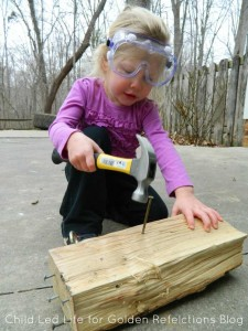 Nail montessori work ideas that double perfectly as proprioception sensory play. www.GoldenReflectionsBlog.com