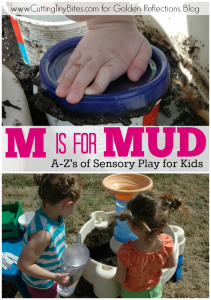 Mud sensory play ideas for kids. ww.GoldenReflectionsBlog.com