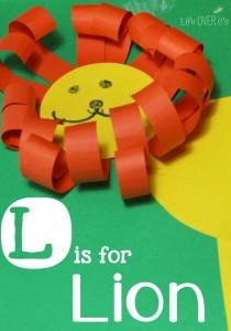 L is for Lion craft for spring. www.GoldenReflectionsBlog.com