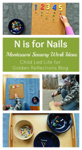 Nail Montessori sensory work ideas for kids. www.GoldenReflectionsBlog.com