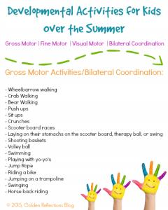 Gross motor activities for summer. www.GoldenReflectionsBlog.com
