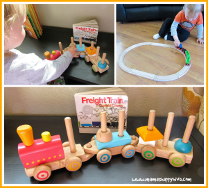 wooden toy train tot tray