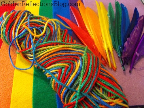 rainbow soft sensory bin items