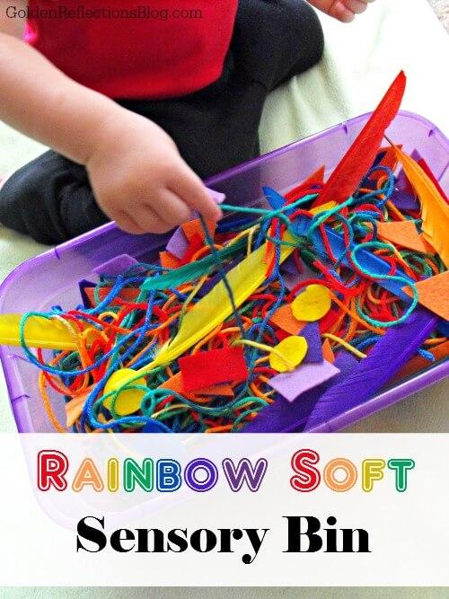 R is for rainbow soft sensory bin. www.GoldenReflectionsBlog.com