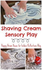 S is for shaving cream sensory play. www.GoldenReflectionsBlog.com
